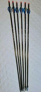 Six Easton 400 Flatline Arrows, Professionally fletched, 3 target & 3 Rage tips