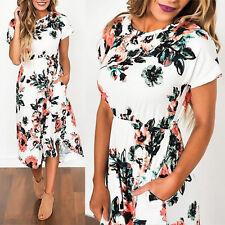 Women's Floral Long Maxi DRESS Ladies Evening Party Dress Summer Beach Sundress