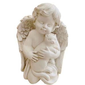 "Angel with Cat Statue Pet Cat Memorial Statue Rememberance Cat Kitty Figurine 7"""