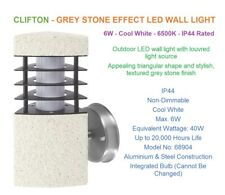 CLIFTON - Outdoor Wall Light - 6W -Textured Grey Stone Finish- Aluminium & Steel