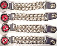4 MARINE CORPS MILITARY VET DBL CHAIN MOTORCYCLE BIKER VEST EXTENDERS USA MADE