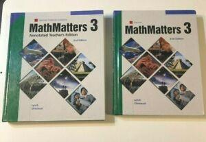 Math Matters 3 Glencoe 2nd Edition Teacher Student Bundle 2001 Used Good