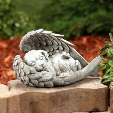 Dog Angel Wings Pet Memorial Stone Cemetery Grieving Grave Marker Garden Statue