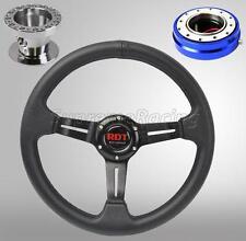 Black Steering Wheel Kit w/Quick Release BL For Toyota Celica Corolla Cressida