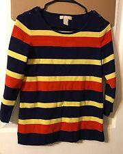 Banana Republic, Women 3/4 Sleeve Blue Yellow and Orange Striped Sweater, Small
