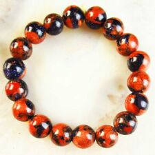 "Interesting Blue Gold Sand Stone Round Ball stretchy bracelet 7"" S69484"