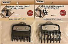 WAHL PREMIUM CUTTING GUIDES  GUARDS WITH NON SLIP METAL CLIP 2 PCS #1 & #1 1/2