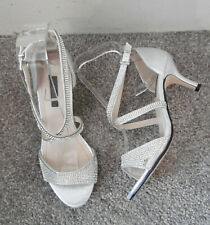 Quiz Silver Shimmer Diamante Open Toe Low Heels, Size UK 4 EU 37