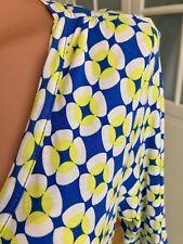 JBC Kleid Wickel Optik Retro Blumen Muster Stretch Neongelb Blau Weiß L 42