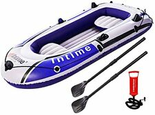 4 Person Inflatable Boat Canoe - 9FT Raft Inflatable Kayak with Air Pump Rope...