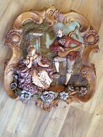 Vintage 3D Ceramic Man Playing A Mandolin To A Woman Wall Hanging
