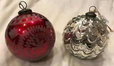 "Set of 2 Pottery Barn Oversized Mercury Glass 6"" Christmas Ornaments"