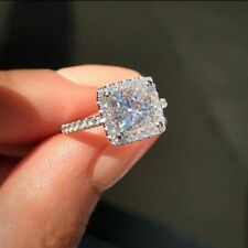 Pretty Princess White Sapphire Silver Wedding Engagement Rings For Women Size 8