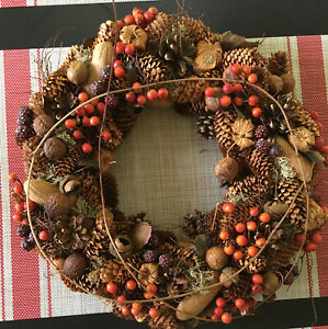 """Pinecone Wreath Vintage Acorn,Berries And Nuts Thanksgiving / Fall 13"""" Round"""