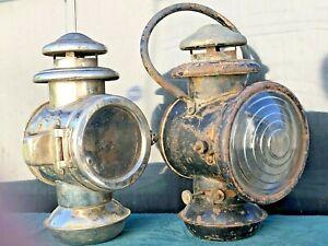 (2) ANTIQUE MODEL T FORD? AUTO/BUGGY OIL KEROSENE LAMP LANTERNS
