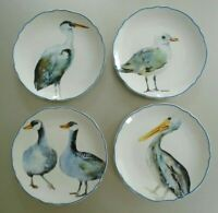 "Pier 1 Imports Coastal Birds 8-3/4"" Salad Plates-Set Of 4 Duck Pelican Seagull"