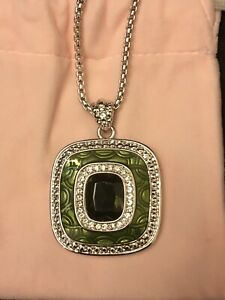 Jacqueline Kennedy Pendant Necklace Simulated Emerald w/ Green Enamel New