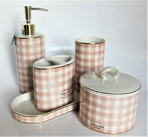 5pc Kassatex Plaid Pink Gold Soap Pump Tray Cotton Jar Holder Tumbler Bath Set