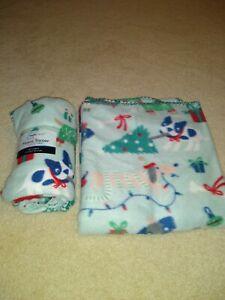 "MAINSTAYS CHRISTMAS DOGS Green Fleece Throw Blanket Blue 50""x60"" NWOT"