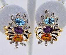 Oval Cut Citrine Amethyst Topaz Genuine Diamonds Solid 14k Yellow Gold Earrings