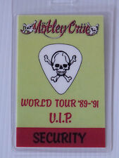 MOTLEY CRUE  Laminated VIP SECURITY Backstage World Tour Pass 1989-1991