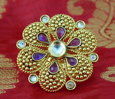 Indian Ring  Adjustable Gold Plated Tradititional Perpel Ethnic Jewellery