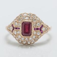 Art Deco 18k Rose Gold 1.16ctw Genuine Ruby & Old Cut G-VS Diamond Ring 3.6g