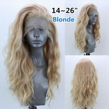 14-26 inch Natural Wavy Blonde Long Wave Wigs Mix Synthetic Lace Front Wig Heat