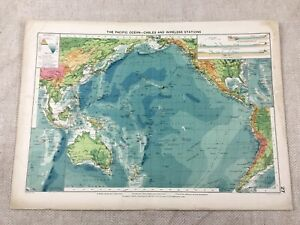 1920 Maritime Map of The Pacific Ocean Cables Wireless Stations Mercantile
