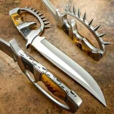 CUSTOM HAND MADE J2 STAINLESS STEEL Bowie Hunting D Guard with Natural Goat Horn