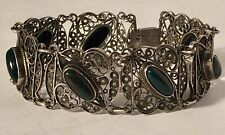 Filigree Bloodstone Bracelet 7.5� Incredible Vintage Made In Palestine