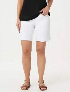 """Belle by Kim Gravel White Flexibelle 8"""" Shorts New Denim Jean Pull on"""