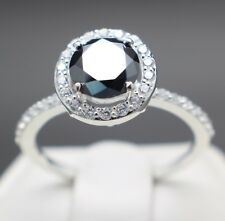 1.18cts 6.69mm Real Natural Black Diamond Halo Ring, Certified AAA & $990 Value.