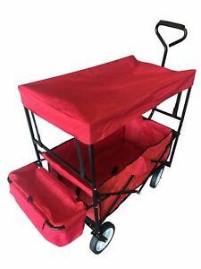Folding Cart Roof Canopy 4 Wheel Trolley Beach Camping Festival Wagon