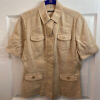 Elie Tahari Womens Button Down Shirt Beige Short Sleeve Collar Pockets Safari 4
