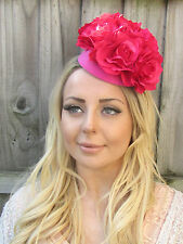 Hot Pink Rose Flower Pillbox Hat Fascinator Headpiece Statement Races Ascot 1854