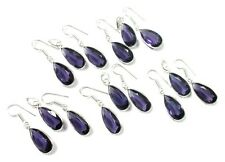 Top Purple Amethyst Faceted Quartz 925 Silver Plated 5 Pcs Earring Pendant Set