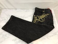 Crown Holder Hip Hop Jeans Mens 42X28 Embroidered Distressed Gray Gold Trim C1
