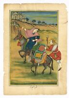 Handmade Indian Miniature Painting Of Fruits Seller Persian Style Art On Paper