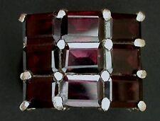 Garnet Emerald Cut Multi Gemstone Sterling Ring Size 7 PSR239