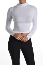 Crop top long sleeve mock neck seamless casual layering form fitting solid white