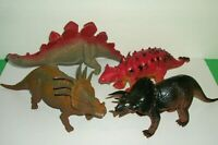 """Lot of 4 Imperial Dinosaurs 10"""" - 13 1/2"""" Length Collectible Vintage Toys"""