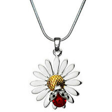 "Adorable Silvertone Daisy Flower Ladybug Pendant Necklace 18"" Chain"