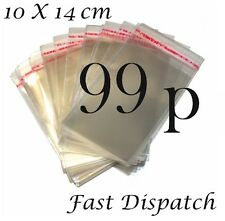 99 p 40 Cellophane Bags 10 X 14 cm Clear Cello Display Self Adhesive Peel & Seal