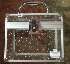 Caboodles Makeup Train Case with handle and latch Clear Glitter Stars
