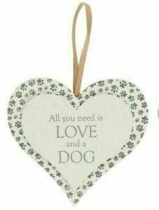 14CM Wooden Double Heart hanging heart pet lover Paw sign
