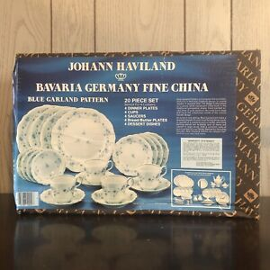 UsedJohann Haviland Bavaria Germany Fine China Blue Garland Pattern 20 Piece Set