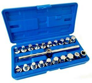 Set 21 chiavi bussola per tappi scarico coppa olio 3/8'' in valigia A.00072