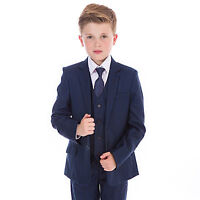 Boys Suits Boys Check Suits, Navy Grey, 5 Piece Wedding Prom Page Boy Baby Party