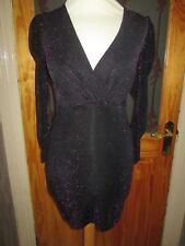 B3181 NEW BOOHOO BLACK MIX BEADED NECKLINE LONG SLEEVE STRAIGHT DRESS UK 10